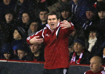 Sheffield United manager Clough reacts during their Capital One Cup semi final second leg soccer match against Tottenham Hotspur at Bramall Lane in Sheffield