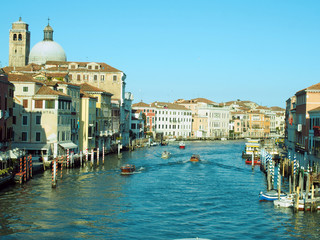 Venice with canal and boat
