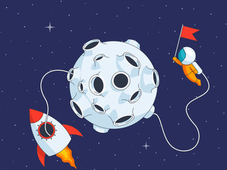 Astronaut on lunar landing mission, vector illustraton in flat style