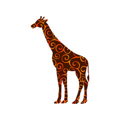 Giraffe mammal color silhouette animal