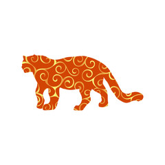 Leopard wildcat color silhouette animal