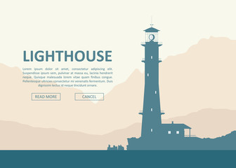 Huge lighthouse at seashore over mountain range. Vector landscape illustration.