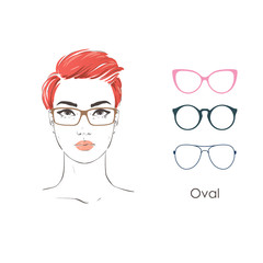 Vector set beautiful women portrait with differnt haircuts and shape of glasses for oval type of faces. Hand drawn illustration.