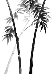 bamboo drawing on rice paper with ink