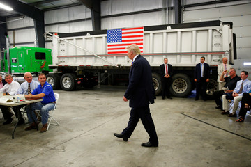 Republican U.S. presidential nominee Donald Trump attends a coal mining round table discussion at Fitzgerald Peterbilt in Glade Spring, Virginia