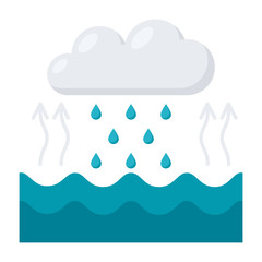 Hydrology concept with water cycle diagram, vector illustration in flat style
