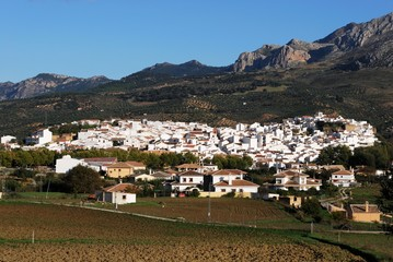 View of the white village and surrounding countryside, El Burgo, Spain.