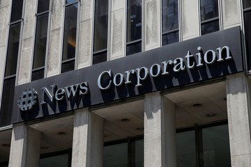 The News Corporation logo on their headquarters building, home to Fox News, is seen in New York