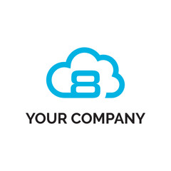 number 8 cloud line logo vector