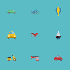 Flat Motorbike, Scooter, Chopper And Other Vector Elements. Set Of Machine Flat Symbols Also Includes Scooter, Bicycle, Boat Objects.