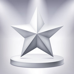 Five-pointed star on the illuminated podium, award pedestal, geometry shape, vector design for you project
