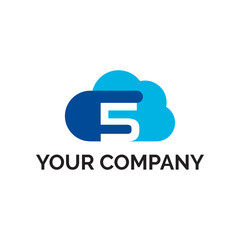 number 5 cloud modern logo vector