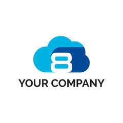 number 8 cloud modern logo vector