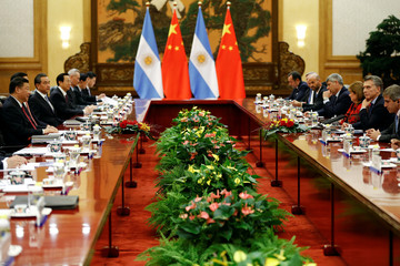 China's President Xi Jinping meets Argentina's President Mauricio Macri at the Great Hall of the People in Beijing