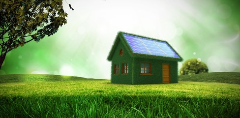 Composite image of small model of green house