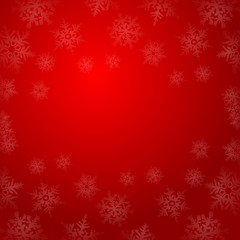 Winter snowflakes on red background vector illustration.
