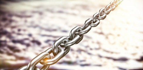 Composite image of 3d image of silver linked metal chain