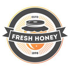 Fresh honey vintage label isolated vector illustration. Traditional beekeeping icon, organic honey product logo, natural sweet food badge.
