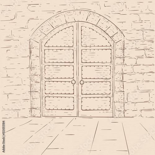 Old castle doors. Hand drawn sketch on beige background