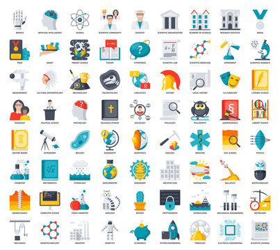 Science icons set, scientific vector illustrations in flat style