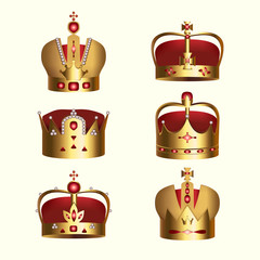 Golden monarchy crown isolated set. Medieval heraldic symbol, beautiful royal 3d design element for company logo, label, certificate or diploma. Elegant aristocratic branding vector illustration.