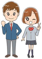 高校生男女のイラスト(全身)