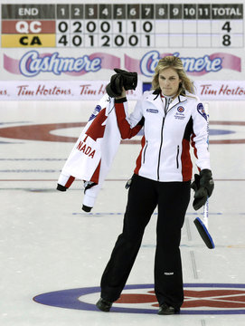 Team Canada skip Jennifer Jones leaves the ice during the Scotties Tournament of Hearts curling championships in Sault Ste. Marie
