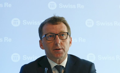 CFO Cole of reinsurer Swiss Re addresses the annual news conference in Zurich