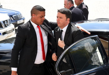 Italian Prime Minister Matteo Renzi arrives to take part in an anti-extremism march in Tunis