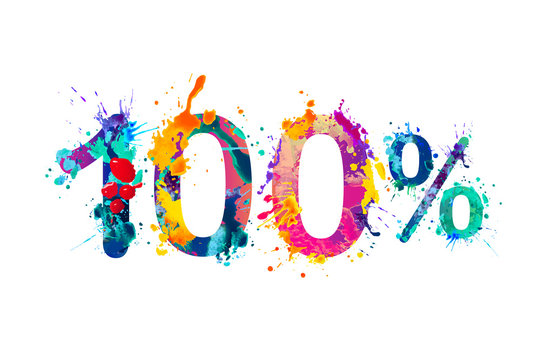 100 (one hundred) percent. Splash paint watercolor