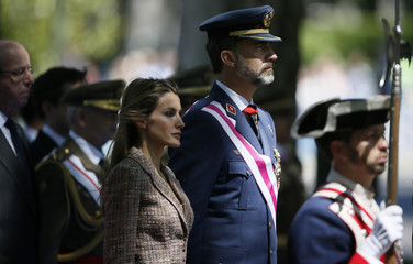 Spain's Prince Felipe and Princess Letizia attend celebrations marking Spain's Armed Forces Day in Madrid