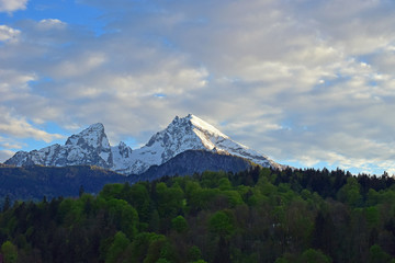 Watzman mountain,  the third highest in Germany and the highest located entirely on German territory in the Bavarian Alps south of the village of Berchtesgaden.
