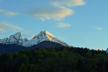 German alps. Watzman mountain from Berchtesgaden, Bavaria, Germany just before sunset