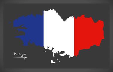 Bretagne map with French national flag illustration