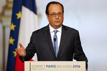 French President Francois Hollande delivers his speech during the Western Balkans summit at the Elysee Palace in Paris