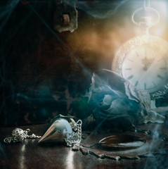 Dark magic scene with hypnosis-tools -backround with copy space