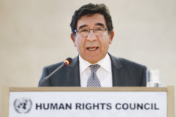 Tunisia's State Secretary of the ministry for foreign affairs Nouicier addresses the opening of the 16th session of the Human Rights Council at the United Nations European headquarters in Geneva