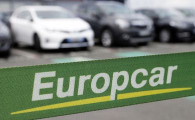 Logo of French car rental firm Europcar is seen in Merignac near Bordeaux