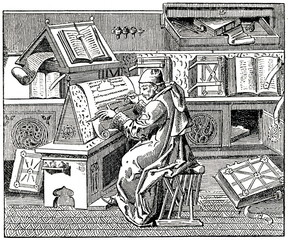 Burgundian author Jean Miélot writing his compilation of the Miracles of Our Lady, 15th century