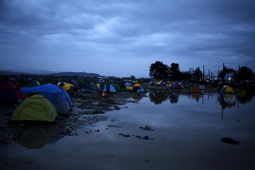 A view shows partially submerged makeshift camp where migrants are stranded on the Greek-Macedonian border, near the village of Idomeni