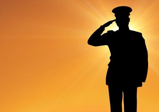 Captain silhouette saluting against sun
