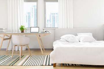 The modern of loft bedroom old concrete design with work park laptop mock up design, 3D render image