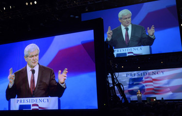 Former U.S. House of Representatives Speaker Gingrich is projected onto monitors as he speaks to delegates during Republican Party of Florida Presidency 5 Convention in Orlando