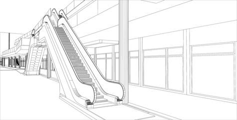 sketch design of interior hall, vector