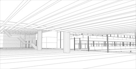 sketch design of interior hall,vector