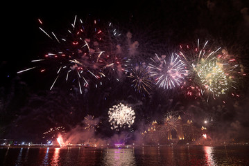 Fireworks explode over the Atlantis hotel in Dubai during the New Year celebrations