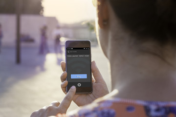 Online payment by smartphone concept.