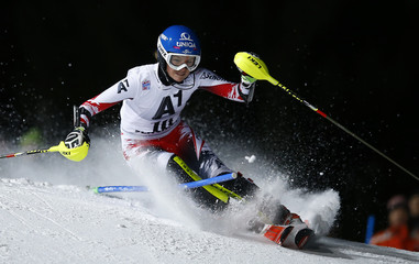 Schild from Austria clears a gate during the first run of the Alpine Skiing World Cup women's Slalom race in Flachau
