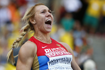 Abakumova of Russia reacts as she competes in the women's javelin throw final during the IAAF World Athletics Championships at the Luzhniki stadium in Moscow