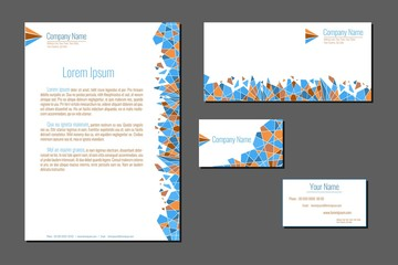 Professional corporate identity kit. Business Cards, Envelope and Letter Head Designs. Vector template.